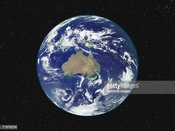 Fully lighted image of Earth centered on Australia and Oceania.