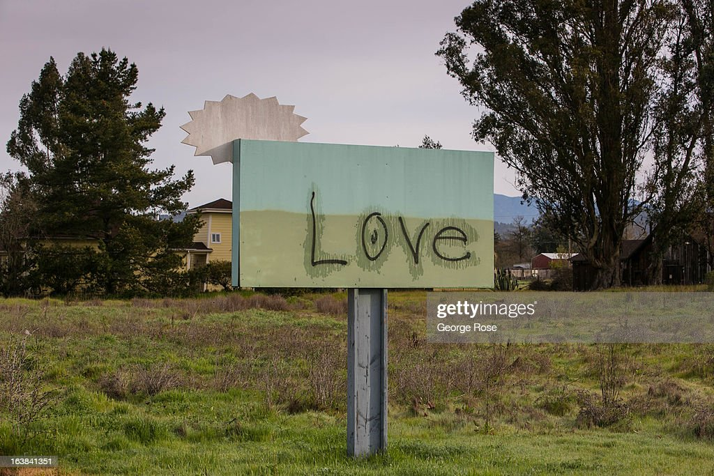 A Fulton Road sign that has been spray-painted with the word 'love' is viewed on March 15, 2013, near Santa Rosa, California. Sonoma County, along with Napa Valley, has grown to become one of California's most prestigious wine grape growing regions and known for its cool climate pinot noir and chardonnay.