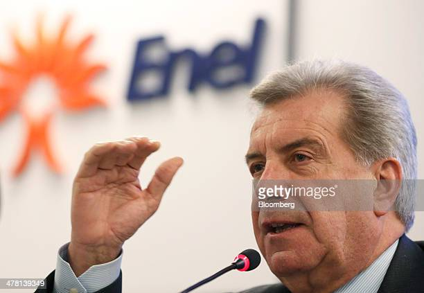 Fulvio Conti chief executive officer of Enel SpA gestures during a news conference to announce the company's financial results in Rome Italy on...