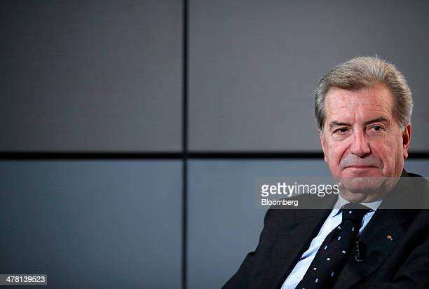 Fulvio Conti chief executive officer of Enel SpA pauses during a television interview ahead of a news conference to announce the company's financial...