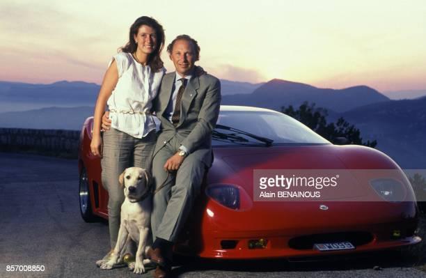 Fulvio Maria Ballabio pilote et concepteur de la Centenaire premiere voiture fabriquee en Principaute de Monaco en compagnie de son epouse lvana en...