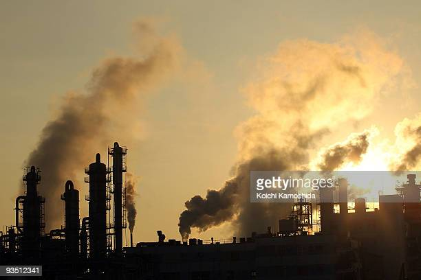 Fumes emit from factories of Keihin Industrial Area on December 1 2009 in Kawasaki Japan The United Nations Climate Change Conference in Copenhagen...