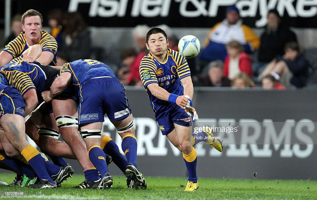 Fumiaki Tanaka of Otago clears the ball during the round eight ITM Cup match between Otago and North Harbour at Forsyth Barr Stadium on September 18, 2012 in Dunedin, New Zealand.