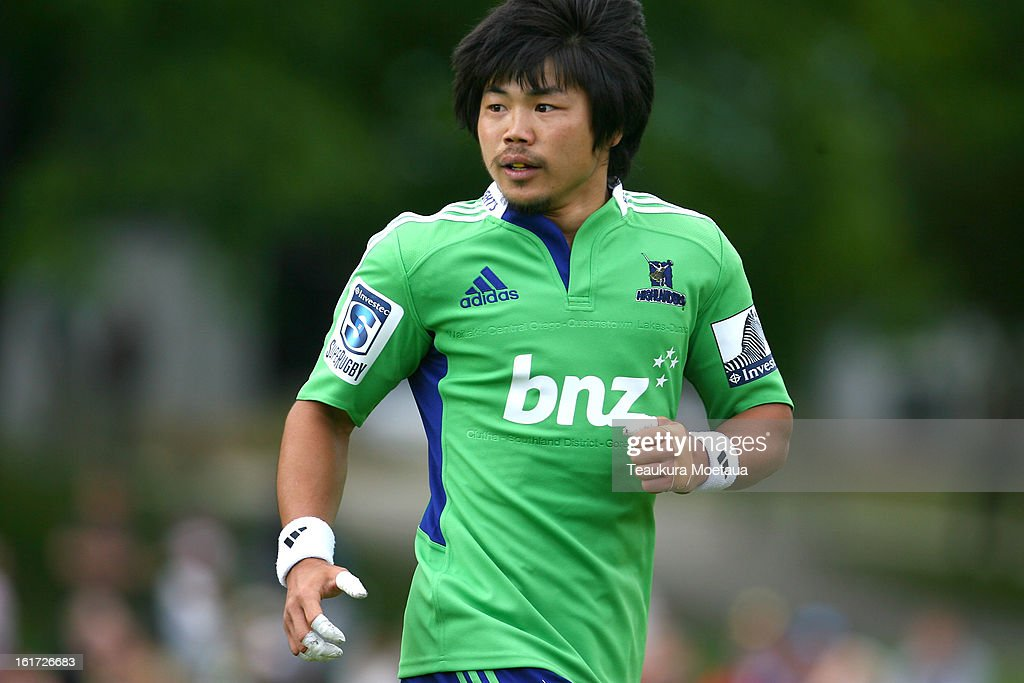 Fumiaki Tanaka of the Highlanders looks on during the Super Rugby trial match between the Highlanders and the Blues at the Queenstown Recreation Ground on February 15, 2013 in Queenstown, New Zealand.