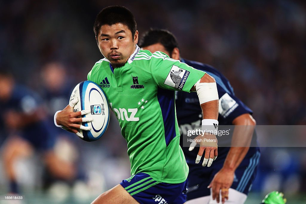 Fumiaki Tanaka of the Highlanders makes a break during the round eight Super Rugby match between the Blues and the Highlanders at Eden Park on April 5, 2013 in Auckland, New Zealand.