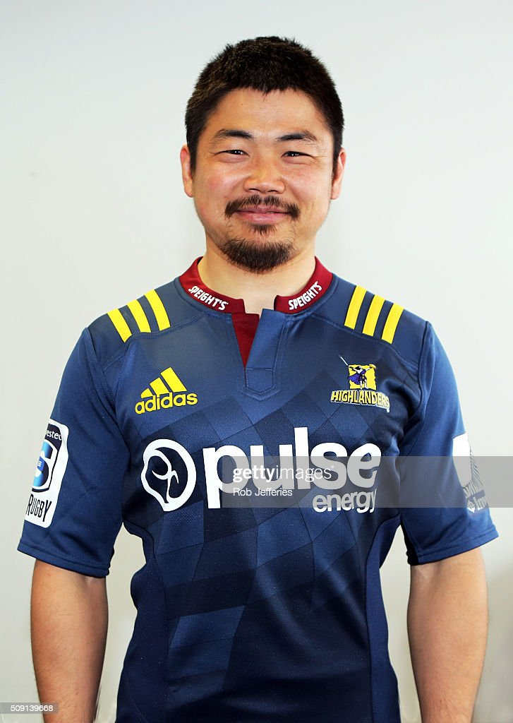 <a gi-track='captionPersonalityLinkClicked' href=/galleries/search?phrase=Fumiaki+Tanaka&family=editorial&specificpeople=5409297 ng-click='$event.stopPropagation()'>Fumiaki Tanaka</a> of the Highlanders poses for a photo during a Highlanders portrait session on February 9, 2016 in Dunedin, New Zealand.
