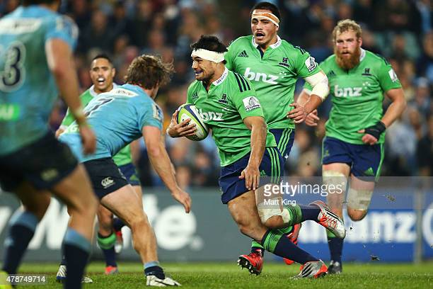 Fumiaki Tanaka of the Highlanders runs with the ball during the Super Rugby Semi Final match between the Waratahs and the Highlanders at Allianz...
