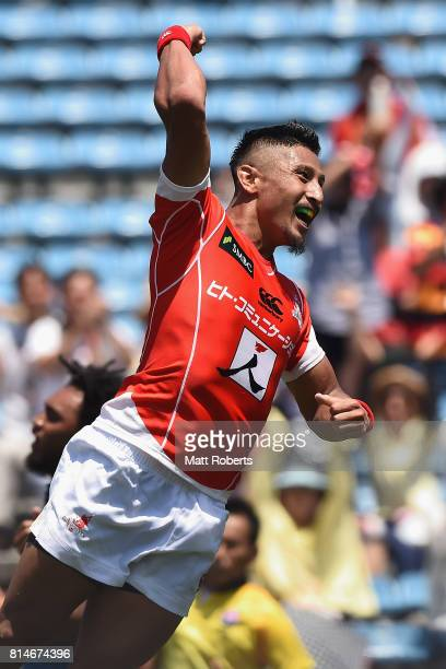 Fumiaki Tanaka of the Sunwolves celebrates scoring a try during the Super Rugby match between the Sunwolves and the Blues at Prince Chichibu Stadium...