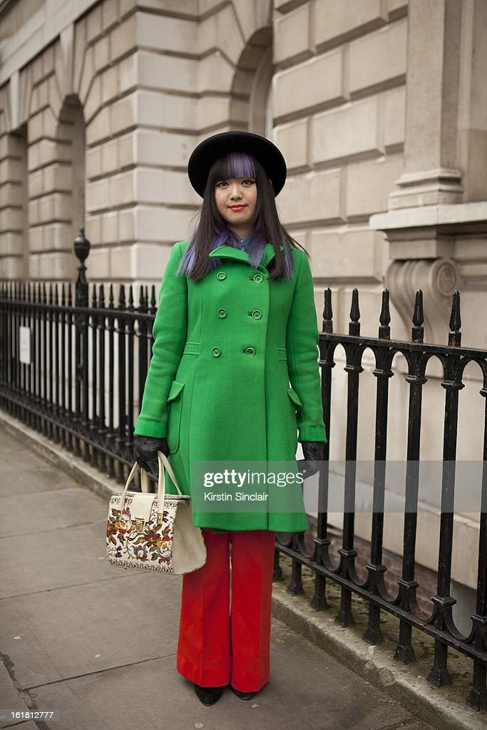 Fumie C Kikuchi Translator (EN-JP) Blogger wearing vintage clothes from Blackout II, on day 2 of London Womens Fashion Week Autumn/Winter 2013 on February 16, 2013 in London, England.