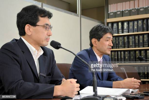 Fumihiro Joyu of Hikari no Wa an offshoot of the Aum Shinrikyo cult speaks at a news conference on September 25 2017 in Tokyo Japan A court lifted...