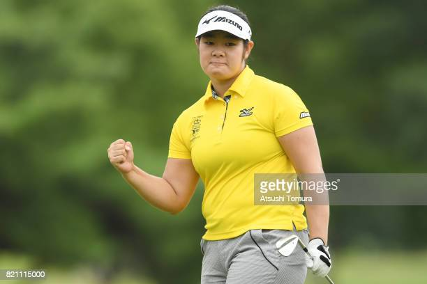 OTSU JAPAN Fumika Kawagishi of Japan celebrates after making her birdie putt on the 5th hole during the final round of the Century 21 Ladies Golf...