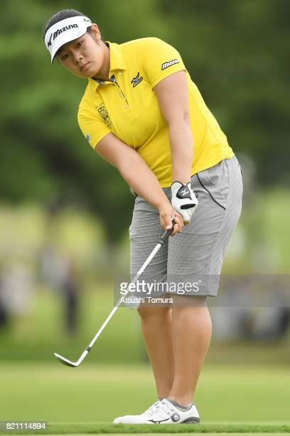 OTSU JAPAN Fumika Kawagishi of Japan chips onto the 5th green during the final round of the Century 21 Ladies Golf Tournament 2017 at the Seta Golf...