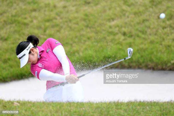 Fumika Kawagishi of Japan hits from a bunker on the 7th hole during the final round of the Resorttrust Ladies at the Oakmont Golf Club on May 28 2017...