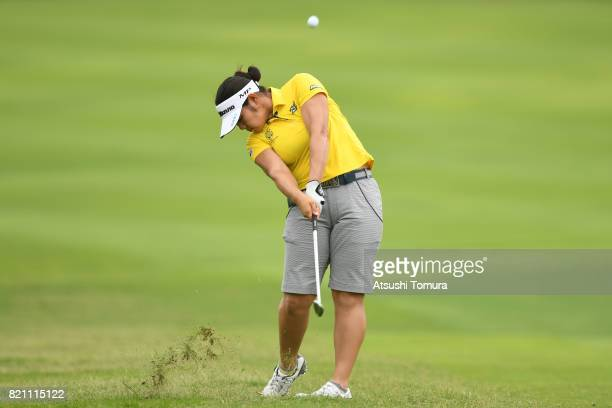 OTSU JAPAN Fumika Kawagishi of Japan hits her second shot on the 5th hole during the final round of the Century 21 Ladies Golf Tournament 2017 at the...