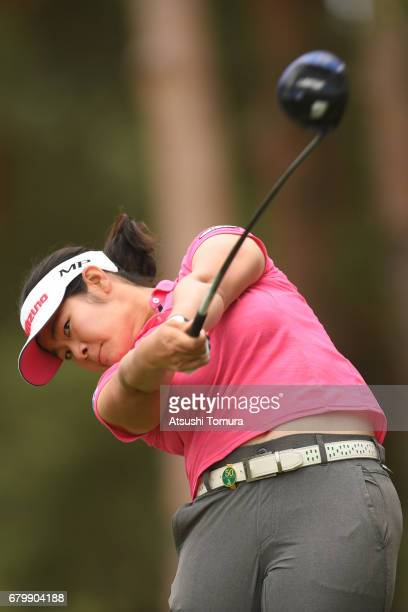 Fumika Kawagishi of Japan hits her tee shot on the 2nd hole during the final round of the World Ladies Championship Salonpas Cup at the Ibaraki Golf...