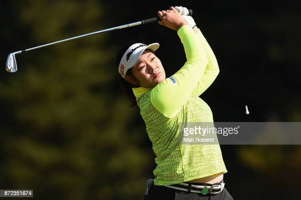 Fumika Kawagishi of Japan hits her tee shot on the 2nd hole during the first round of the Itoen Ladies Golf Tournament 2017 at the Great Island Club...