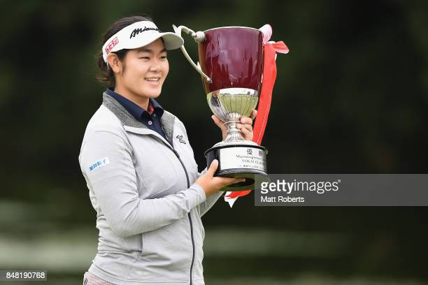 Fumika Kawagishi of Japan holds the winners trophy during the final round of the Munsingwear Ladies Tokai Classic 2017 at the Shin Minami Aichi...