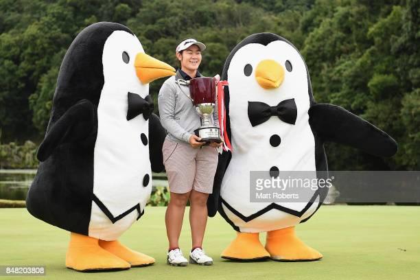 Fumika Kawagishi of Japan holds the winners trophy during the final round of the Munsingwear Ladies Tokai Classic 2017 at the Shin Minami Aichi...