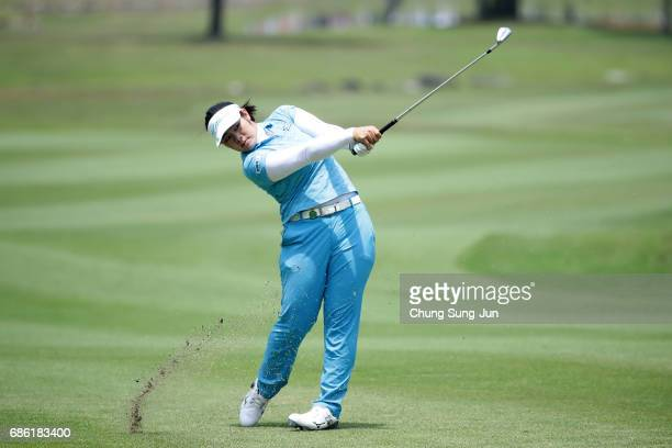 Fumika Kawagishi of Japan plays a shot on the 9th hole during the final round of the Chukyo Television Bridgestone Ladies Open at the Chukyo Golf...