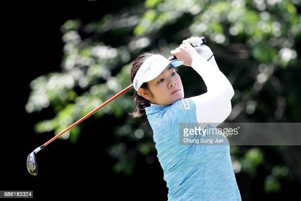 Fumika Kawagishi of Japan plays a tee shot on the 5th hole during the final round of the Chukyo Television Bridgestone Ladies Open at the Chukyo Golf...