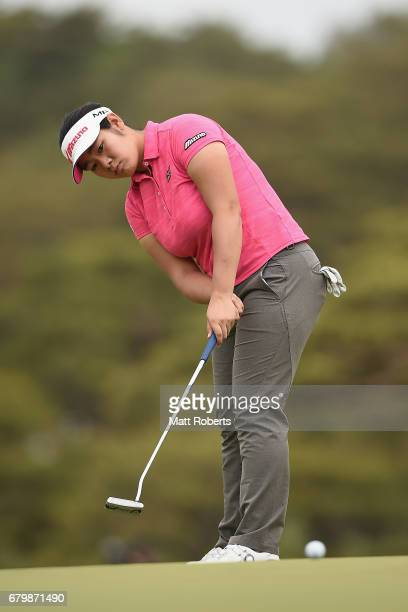 Fumika Kawagishi of Japan putts on the 5th green during the final round of the World Ladies Championship Salonpas Cup at the Ibaraki Golf Club on May...