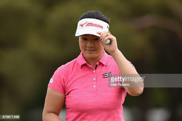 Fumika Kawagishi of Japan reacts on the 3rd green during the final round of the World Ladies Championship Salonpas Cup at the Ibaraki Golf Club on...