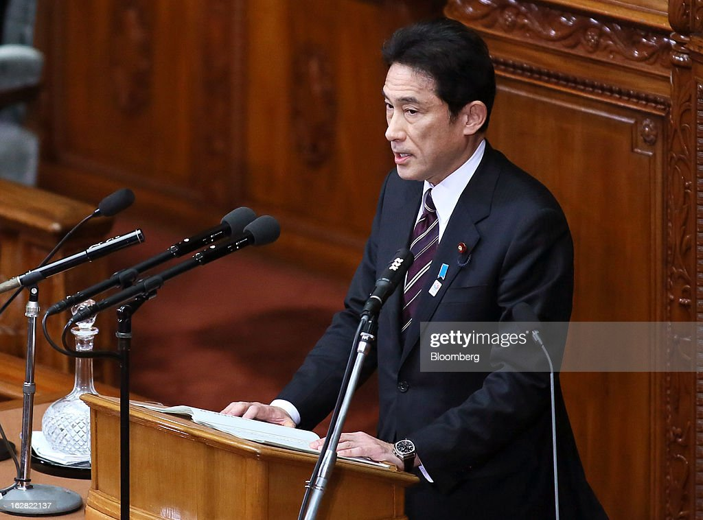 Fumio Kishida, Japan's foreign minister, delivers his policy speech at the lower house of Parliament in Tokyo, Japan, on Thursday, Feb. 28, 2013. Japanese Prime Minister Shinzo Abe nominated Asian Development Bank President Haruhiko Kuroda to lead the nation's central bank, raising the likelihood of further monetary stimulus this year. Photographer: Haruyoshi Yamaguchi/Bloomberg via Getty Images