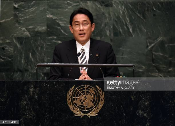 Fumio Kishida Minister for Foreign Affairs of Japan speaks at a meeting of the 2015 Review Conference of the Parties to the Treaty on the...