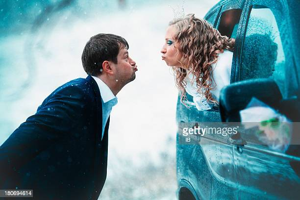 Fun and funny couple married in the winter