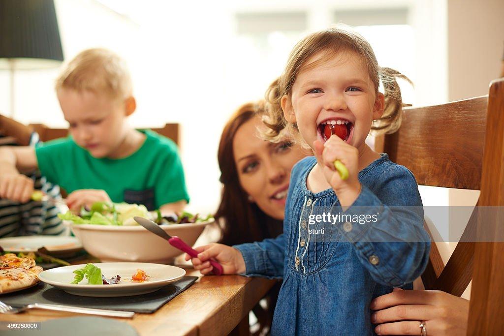 fun family mealtime : Stock Photo