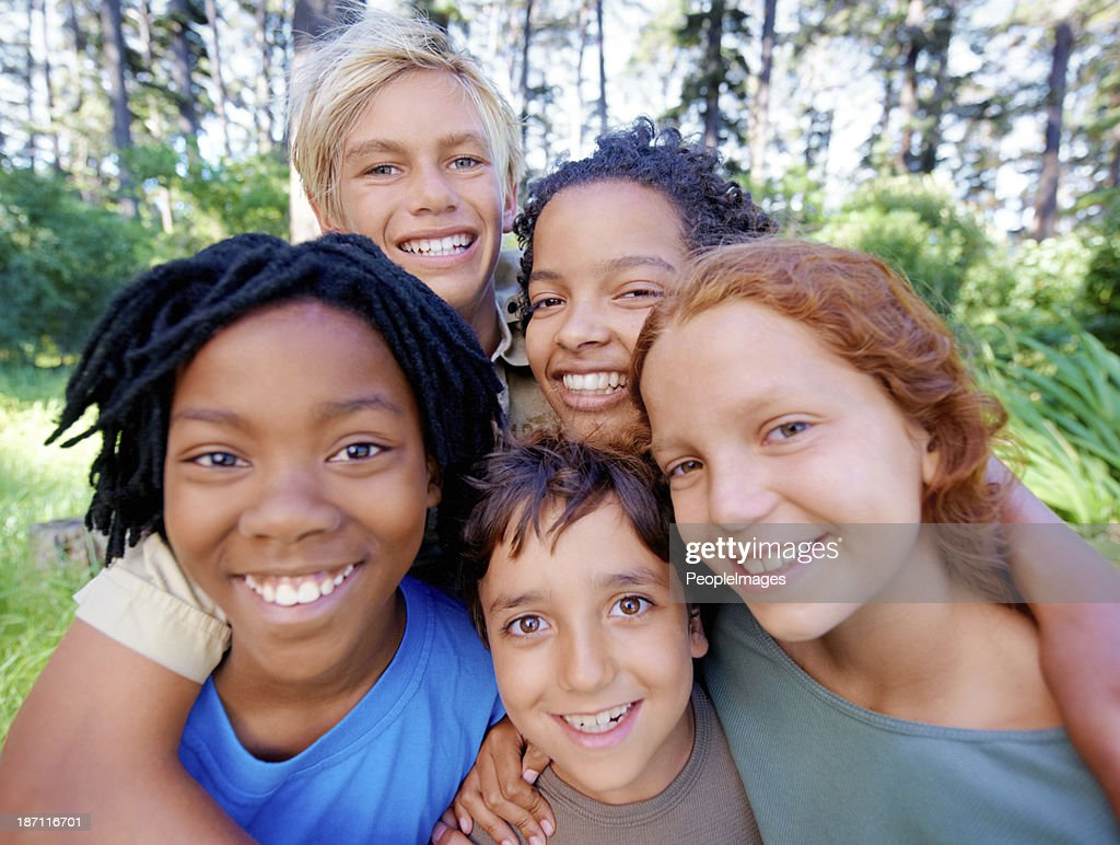 Fun, friends and fresh air! : Stock Photo