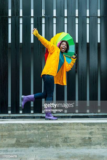 Fun in a colorful rainy day
