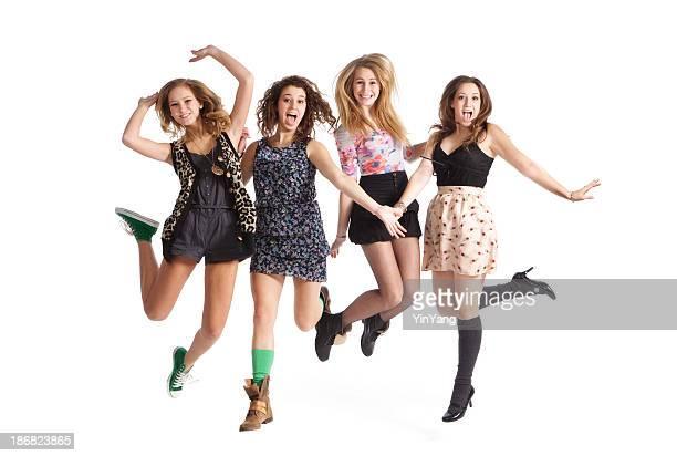 Unterhaltsame springen junge Teen Mädchen auf weißem Hintergrund