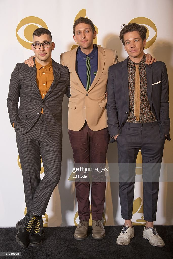 Fun. members Jack Antonoff, <a gi-track='captionPersonalityLinkClicked' href=/galleries/search?phrase=Andrew+Dost&family=editorial&specificpeople=7336071 ng-click='$event.stopPropagation()'>Andrew Dost</a> and <a gi-track='captionPersonalityLinkClicked' href=/galleries/search?phrase=Nate+Ruess&family=editorial&specificpeople=6897270 ng-click='$event.stopPropagation()'>Nate Ruess</a> attend The GRAMMY Nominations Concert Live!! at Bridgestone Arena on December 5, 2012 in Nashville, Tennessee.