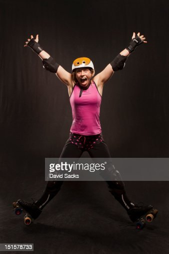 Fun on roller skates : Stock Photo