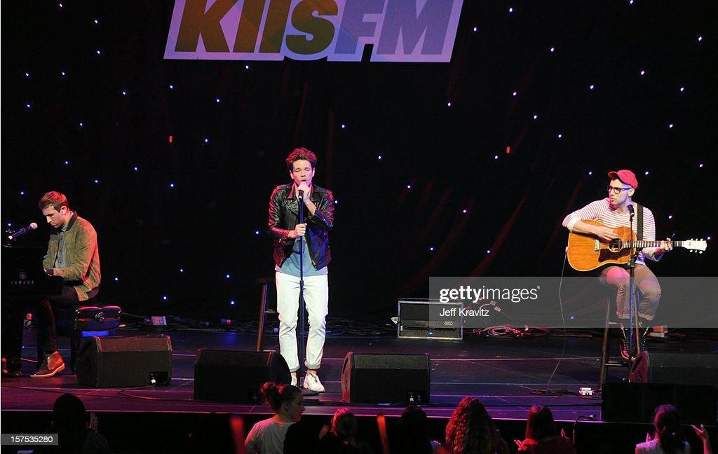 fun. performs at KIIS-FM's Jingle Ball at Nokia Theatre LA Live on December 3, 2012 in Los Angeles, California.
