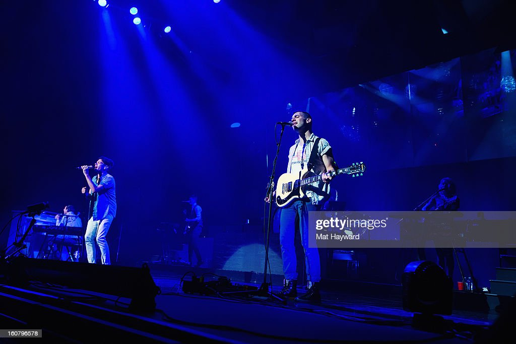 fun. performs at Paramount Theatre on February 5, 2013 in Seattle, Washington.