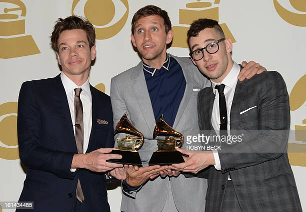Fun pose with their trophies in the press room at the Staples Center during the 55th Grammy Awards in Los Angeles California February 10 2013 AFP...