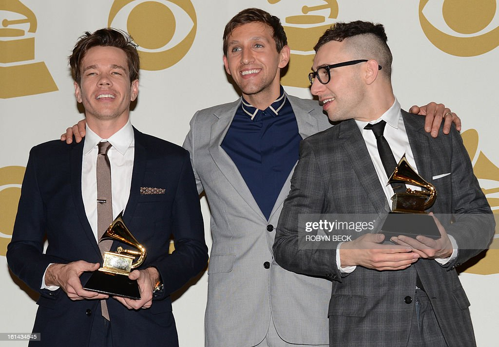 Fun pose with their trophies in the press room at the Staples Center during the 55th Grammy Awards in Los Angeles, California, February 10, 2013. AFP PHOTO Robyn BECK