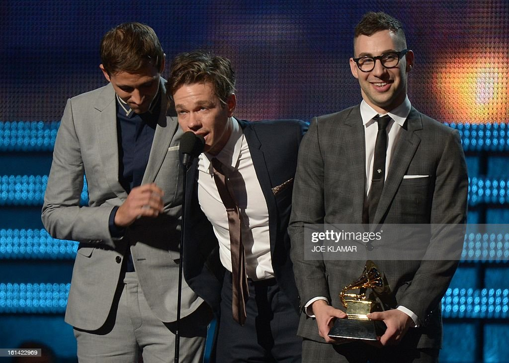 Fun receive their Grammy for Best New Artist on stage at the Staples Center during the 55th Grammy Awards in Los Angeles, California, February 10, 2013. AFP PHOTO Joe KLAMAR