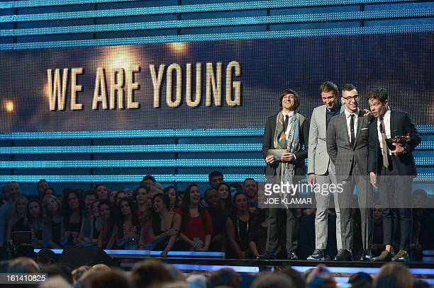 Fun receives their Grammy for Song of the Year at the Staples Center during the 55th Grammy Awards in Los Angeles California February 10 2013 AFP...