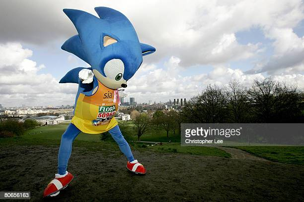 A fun runner dressed as Sonic the Hedgehog prepares for the London Marathon during the 2008 Flora London Marathon on April 13 2008 in London England