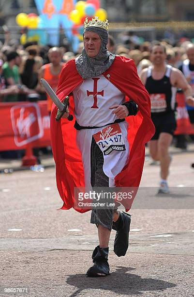 A fun runner dressed as St George during the 2010 Virgin London Marathon on April 25 2010 in London England