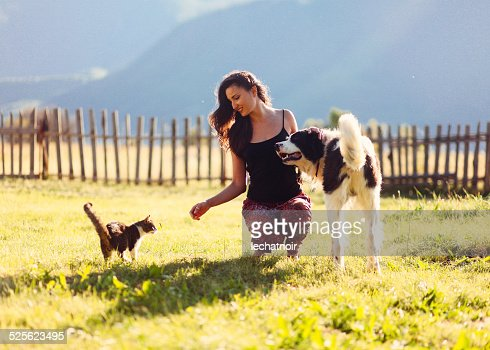 Fun with cats and dogs in the sunny outdoors