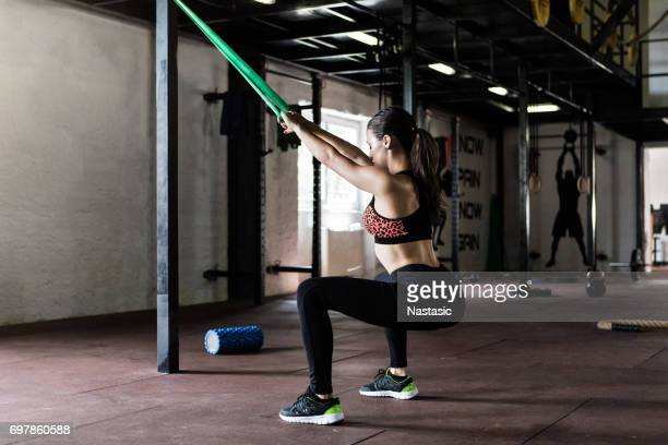Functional training with stretching band