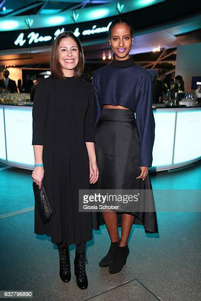 Funda Vanroy and Sara Nuru during the 'A New York Minute' party hosted by Tiffany Co at BMW World on January 26 2017 in Munich Germany