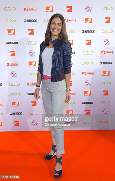 Funda Vanroy attends the photo call for the 2016 programme presentation of TV broadcasters ProSiebenSat1 Media at Cinemaxx Dammtor on July 13 2016 in...