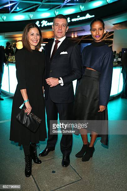 Funda Vanroy Nicola Andreatta General Manager Tiffany Co Swiss Watches and Sara Nuru during the 'A New York Minute' party hosted by Tiffany Co at BMW...