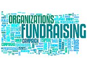 Fundraising words collage isolated on white background