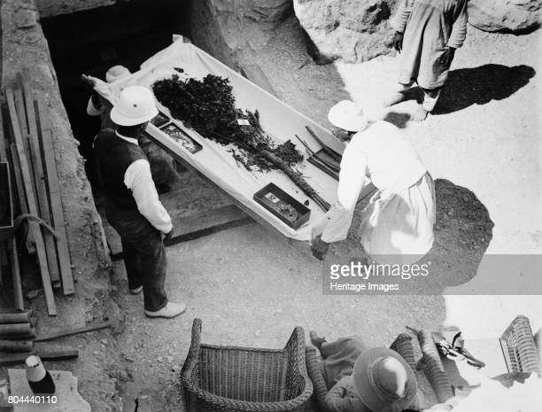 Funeral bouquet being removed from the tomb of Tutankhamun Valley of the Kings Egyp 1922 The discovery of Tutankhamun's tomb in the Valley of the...